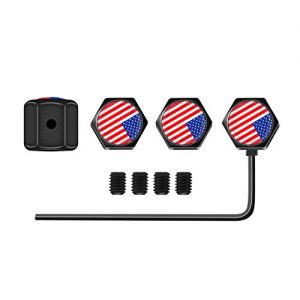 Newest Colorful USA(American)Flag Tire Valve Stem Caps,Anti-Theft Tire Caps,Leak proof,Airtight,Dust proof Seal with Rubber Ring and Hexagon Design for Cars,SUVs,Trucks,Bikes,Motorcycles,Bicycles