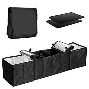 COZYSWAN Car Trunk Organizer Multi 4 Compartments Storage Basket and Cooler & Warmer Set, Black