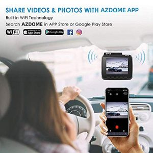 AZDOME UHD 4K Dash Cam 2160P, GPS WiFi Dashboard Car Camera with G Sensor, WDR,170° Wide Angle, Night Vision, Loop Recording, Parking Monitor, Support 64GB Max