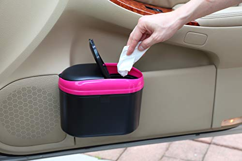 YBM HOME Mini Car Trash Can with Double Cover, 0.8L Auto Garbage Bin Hanging Wastebasket for Getting Rid of Waste On The Go (Pink)