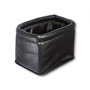 KINGBERWI Leather Car Trash Can Luxury Car Garbage Bag, Black