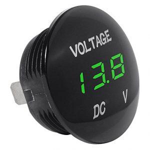 Semoic Voltage Meter Universal Voltmeter Digital Display LED Green Color for 12V-24V Car Motorcycle Automobile Truck