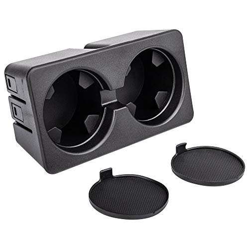 Sushiyi Dual Cup Holder Insert For Compatible with 2007-2013 Silverado Sierra 1500 2500HD 3500HD, 2007-2014 Suburban, YuKon, Tahoe - Replacement 19154712 Floor Mounted Center Console Beverage Drink I