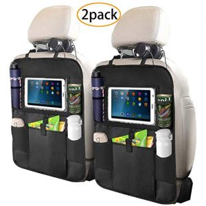 """Fullsexy 2 Pack Car Back Seat Organizer with Touch Screen Tablet Holder, Waterproof Kick Mats Backseat Protector with 5 Storage Pockets for Kids (25"""" X 18"""")"""