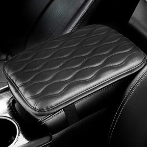 EEEKit Universal Center Console Leather Pad, Waterproof Car Armrest Seat Box Cover Protector for Most Vehicle, SUV, Truck, Car, (Black)