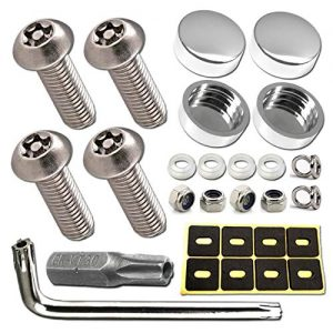 License Plate Screws Anti Theft - Rust Stainless Steel Plate Screw Resistant Security Tamper Resistant Machine License Plate Bolt License Plate Frame Fastener, Polish Chrome Caps, Anti-Rattle Pad