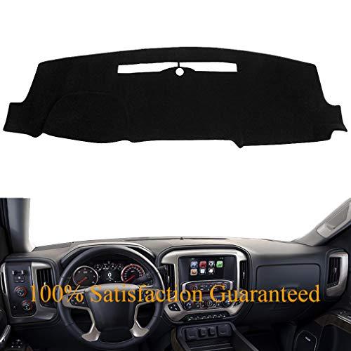 Dash Cover Custom Fit for 2014-2018 Chevy Chevrolet Silverado 1500 / GMC Sierra 1500, 2015-2018 2500 HD/3500 HD, Dashboard Mat Pad no Forward Collision Warning and Speaker Cutting (14-18,Black) Y32