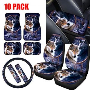 NDISTIN 10pc Full Set Wolf Car Seat Covers,Front Rear Floor Mats,Armrest Cushion Pad,Steering Wheel Cover,Seat Belt Protectors Como Auto Interior Universal Fit for Most Car,Truck,SUV or Vans