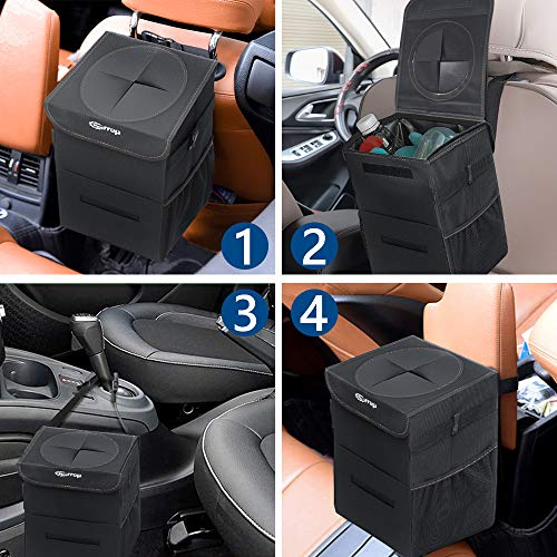 Car Trash Can,Vehicle Trash Can Hanging Car Trash Bag Garbage Can Waterproof Car Trash Bin (2.2 Gallon Trash Bin)