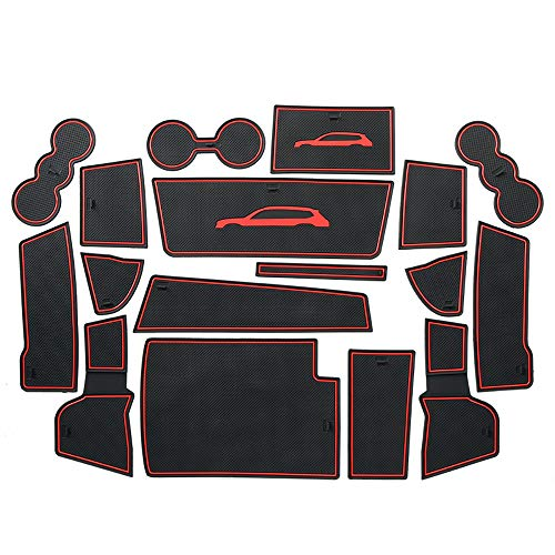 ontto Dust-Proof Mats for VW Car Interior Accessories Custom Fit Door Liners Console Mats Cup Holder Pads Fit for Volkswagen Atlas Red