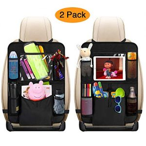 """mixigoo Car Back Seat Organizer Kids - Car Organizers Covers Protectors with 10"""" Touch Screen Tablet Holder Large Storage Pockets Kick Mats for Toy Cartoon Journey Travel Accessories (Large Pocket)"""