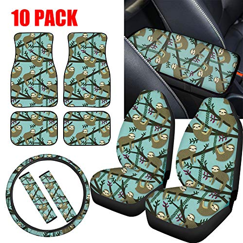 NDISTIN Green Cute Sloth 10 PCS Combo Set Cloth 2 Seat Covers + 4 Floor Mats+1 Steering Wheel Cover+1 Armrest Cushion Pad + 2 Seat Belt Shoulder Cover Fit Most Car, Truck, SUV, or Van