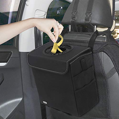 Normei Car Trash Bag Premium Waterproof Car Garbage Can with Lid and Storage Pockets, Collapsible Car Trash Can with Adjustable Strap Fits to Headrest Black