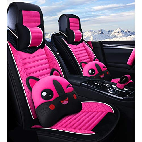 Winter Car Seat Cover Plush Female All-Inclusive Seat Cover Universal Personality Fashion Simple Car Cushion Cover 5 Seat Car Dedicated (Color : Rose Pink, Size : Deluxe)