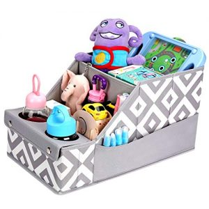 Collapsible Front & Backseat Car Organizer with Movable Dividers   Multifunctional Car Organization for Kids   Easy to Move and Clean & Large Capacity Seat Backseat Toys Storage (Gray)