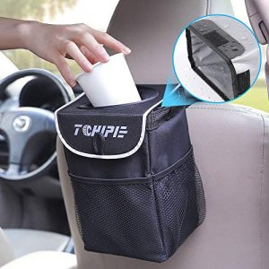 Tchipie Car Trash Can Garbage Bin, Vehicle Trash Bag Hanging, Auto Trash Container Trashcan, Truck Trash Can with Lid and Storage Pockets 1.24 Gallons- Waterproof, Removable and Washable Liner
