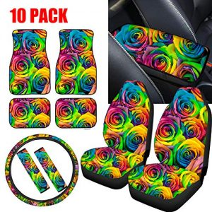 NDISTIN Rainbow Rose Floral Car Seat Covers for Women's Gifts Front Seat Protector+Floor Mats+Steering Wheel Cover+Seat Belt Pad+Armrest Cushion Mat 10 pcs Pack Combo Full Set Universal Fit