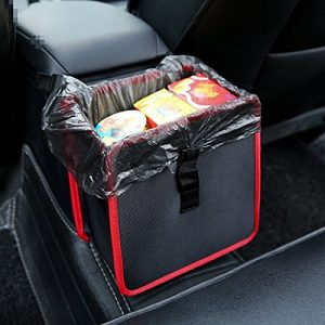 Car Trash Bag Can, Lenmumu Leakproof Litter Garbage Bag Car Accessories Organizer for Travel, Reusable and Washable, Black