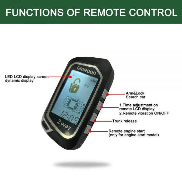 2 Way Car Alarm System PKE Remote Start LCD Keyless Entry