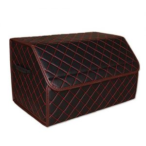 WALTSOM Leather Car Trunk Organizer, Foldable Cargo Storage Box