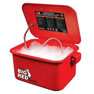Red Portable Steel Cabinet Parts Washer with 110V Electric Pump