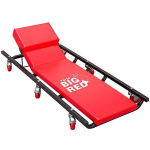Red Padded Mechanic Cart with Adjustable Headrest and 6 Casters